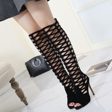 Fashion Pointed Peep Toe Hollow-out Super High Heel Black PU Gladiator Sandals