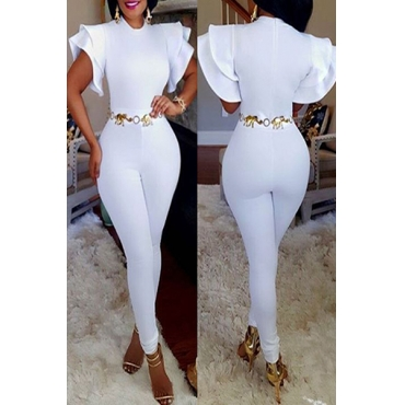 Stylish Round Neck Short Sleeves Falbala Design White Polyester One-piece Skinny Jumpsuits(Without Belt)