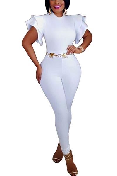 Stylish Round Neck Short Sleeves Falbala Design White Polyester One-piece Skinny Jumpsuits(Without Belt)