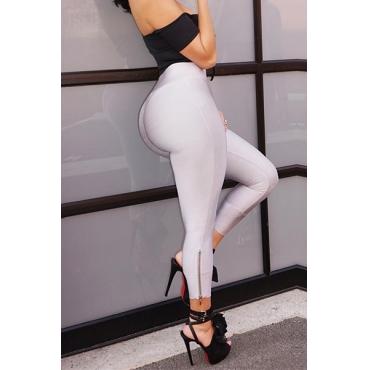 Polyester Solid High Leggings