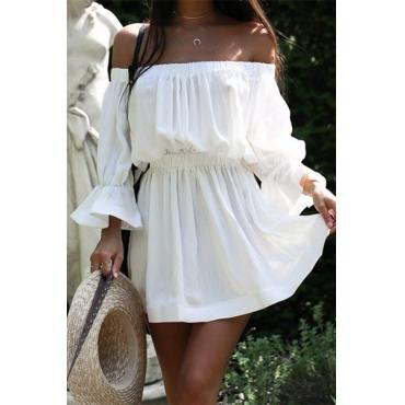 Euramerican Dew hombro medio mangas de algodón blanco Blend mini vestido