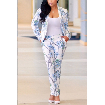 Stylish V Neck Long Sleeves Printed Blue Healthy Fabric Two-piece Pants Set