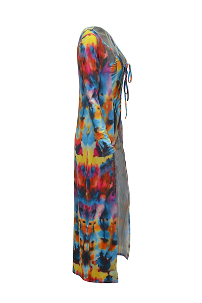 Lovely Casual Printed Blue One-piece Swimwear(With Cover-up)