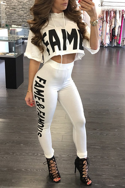 Leisure Round Neck Half Sleeves Letters Printed White Milk Silk Two-piece Pants Set<br>