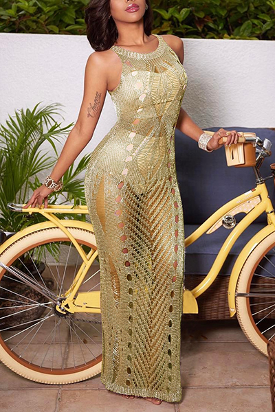 Sexy Hollow-out See-Through Gold Polyester Cover-Ups