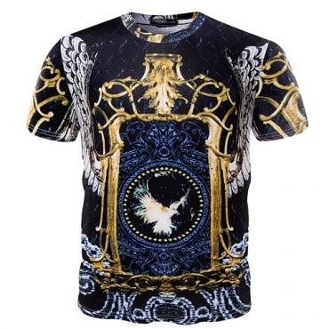 Euramerican Round Neck Short Sleeves Printed Cotton T-shirt