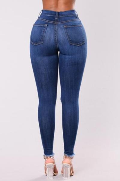 Elegante cintura alta agujeros rotos algodón azul marino Jeans