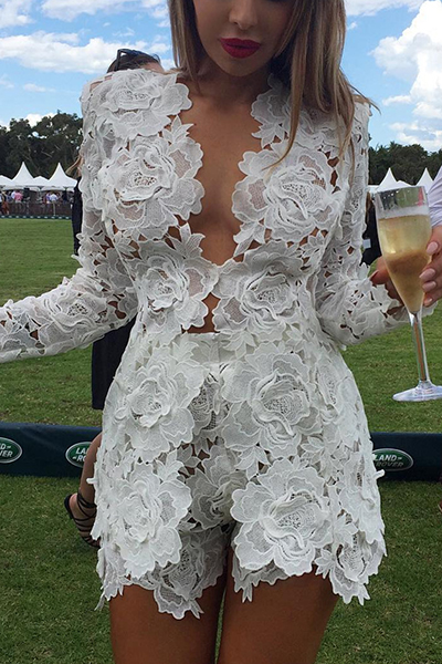 Sexy V Neck Long Sleeves Hollow-out White Lace Two-piece Pants Set