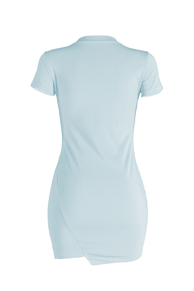 Leisure Round Neck Short Sleeves Broken Holes Skyblue Polyester Mini Dress