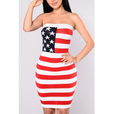 Euramerican Dew Shoulder Printed Pink Milk Fiber Sheath Knee Length Dress (Independence Day)