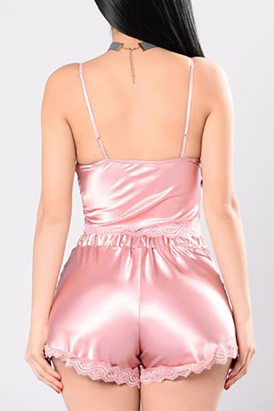Sexy Spaghetti Strap Sleeveless Backless Pink Polyester Two-piece Shorts Set