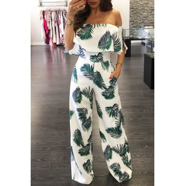 Charming Dew Shoulder Print White Milk Silk One-piece Jumpsuits(Without Accessories)