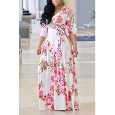 Charming V Neck Floral Print White Milk Fiber Floor Length Dress