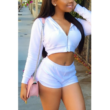 Leisure V Neck Long Sleeves White Knitting Two-piece Shorts Set