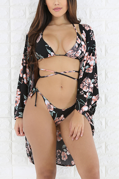 Sexy Printed Hollow-out Nylon Two-piece Swimwear (With Contains Shawl)