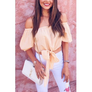 Pullovers Cotton Bateau Neck Short Sleeve Plaid Blouses&Shirts