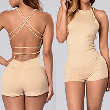 Sexy Backless Khaki Polyester One-piece Skinny Jumpsuits