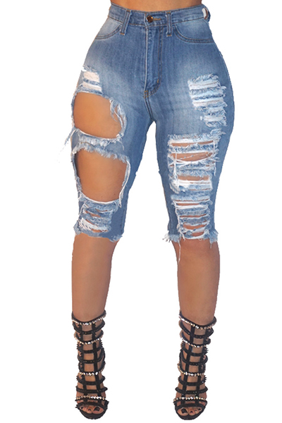 LovelyCotton Solid Zipper Fly Mid Skinny Capris Jeans