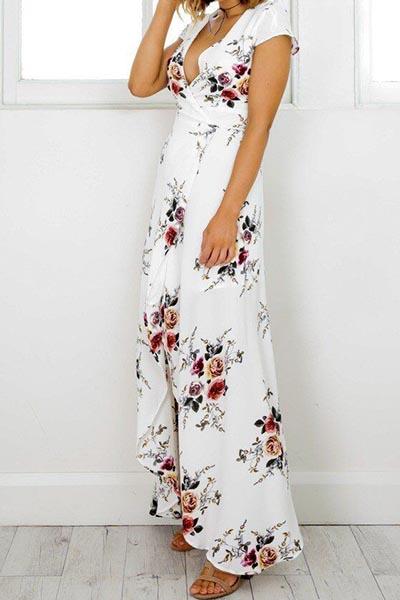 Polyester Bohemian V Neck Short Sleeve A Line Ankl