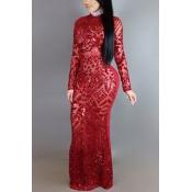 Encantadora cuello redondo mangas largas lentejuelas Decoración de leche roja de fibra de vaina tobillo vestido de longitud