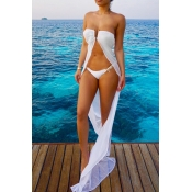 Sexy See-Through White Polyester Cover-Ups(Without Briefs)