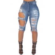 Lovelycotton Zíper Sólido Voar Meados Jeans Skinny Capris