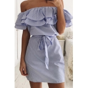 Blending Casual Bateau Neck Off The Shoulder Short