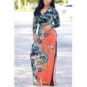 Euramerican V Neck Long Sleeves Floral Print Orang