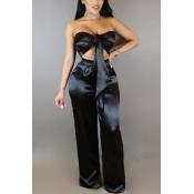 Charming Dew Shoulder High Waist Black Satin Two-piece Pants Set