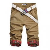 Leisure Mid Waist Patchwork Khaki Cotton Blends Sh