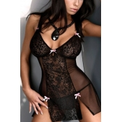 Sexy Patchwork See-Through Black-pink Lace Nightdr