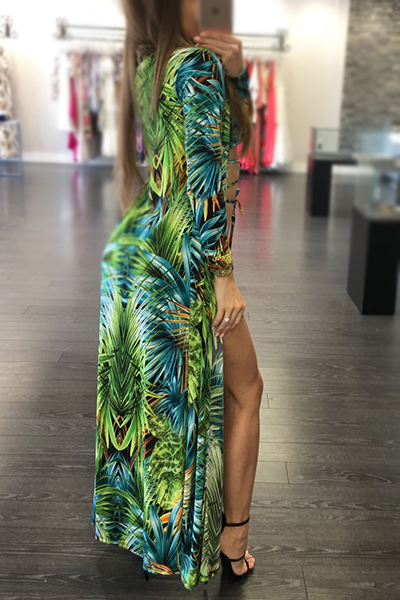 (Non Positioning Printing)Sexy Printed Lace-up Hollow-out Green Polyester Two-piece Swimwear(With Cover-up)