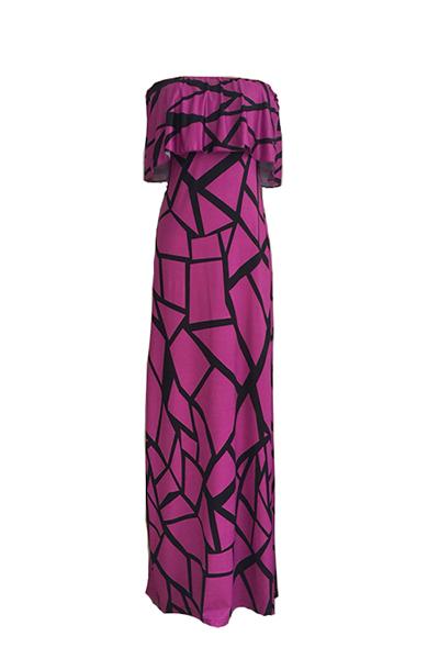 Castiçal encantador com mangas curtas Falbala Design Vestido com bainha de leite roxo com bainha Comprimento de tornozelo