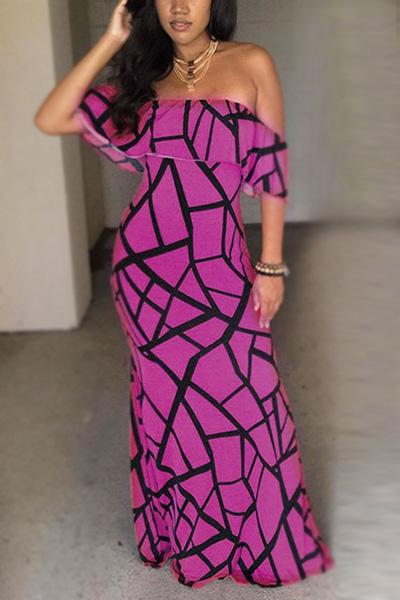 Charmant Bateau Cou Manches Courtes Falbala Design Violet Lait Fibre Gaine Cheville Longueur Robe