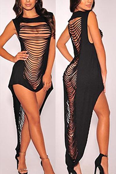 sensual tiro canal sem mangas recôncavo-out Black Leite Fiber Sheath Ankle Length Dress (Non Positioning Printing)