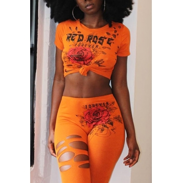 Leisure Round Neck Short Sleeves Printed Hollow-out Orange Polyester Two-piece Pants Set