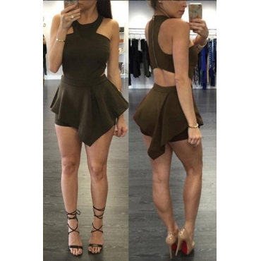 Leisure Round Neck Sleeveless Hollow-out Black Blending One-piece Skinny Jumpsuits