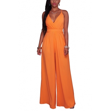 Euramerican V Neck Backless Orange Cotton Blends One-piece Jumpsuits(Without Belt)