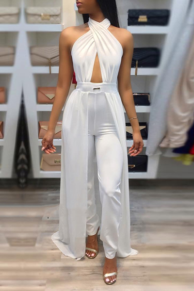 Sexy Patchwork White Spandex One-piece Jumpsuits<br>