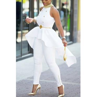 Stylish Round Neck Sleeveless Asymmetrical White Cotton Blends Shirts