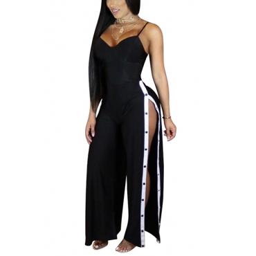 Sexy High Split Black Twilled One-piece Jumpsuits