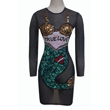 Sexy Round Neck Long Sleeves See-Through Black Gauze Mini Dress