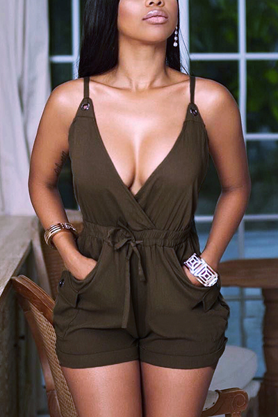 Sexy V Neck Backless Army Green Blending One-piece Skinny Jumpsuits