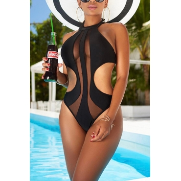 Sexy See-Through Hollow-Out Black Polyester One-Maillots de bain pièce