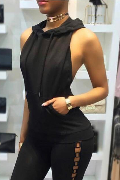 Sexy Backless Black Polyester Shirts