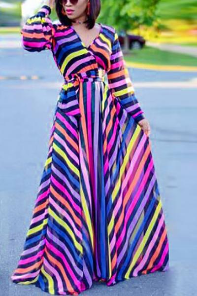 Vestiti lunghi alla moda del collo del collo di V Vestito lungo della caviglia della fibra del latte stampata a strisce