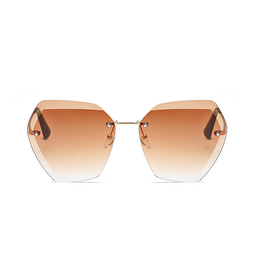 Fashion Rivet Decorative Tawny Metal Sunglasses