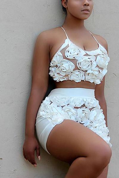 Sexy en forma de U cuello sin mangas rosas decorar blanco encaje de dos piezas cortos Set