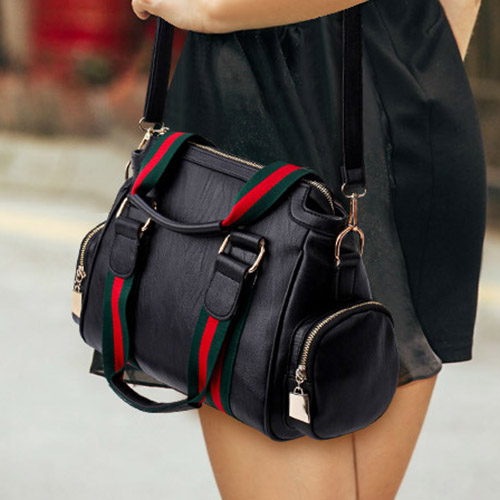 Fashion Patchwork Black PU Crossbody