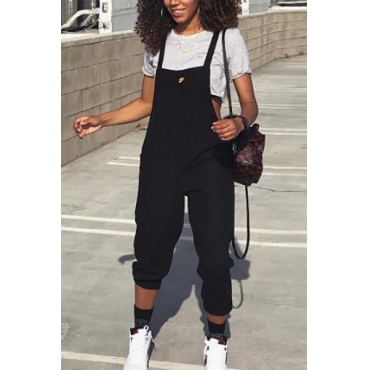 Stylish Black Polyester One-piece Jumpsuits